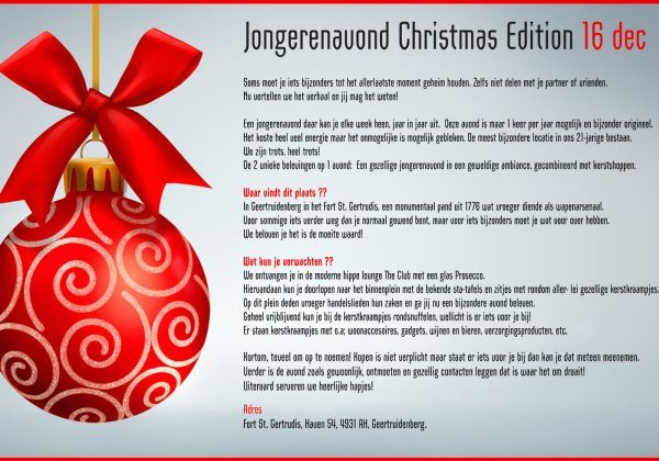 Jongerenavond Christmas Edition Geertruidenberg 16 dec