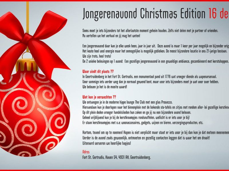 Jongerenavond Christmas Edition Geertruidenberg 16 dec